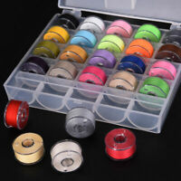 25 Pcs Bobbins Sewing Machine Spools Box Case with Sewing Thread Machine Hand