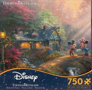 Thomas Kinkade Ceaco Jigsaw Puzzle Mickey and Minnie Sweetheart Bridge NIB