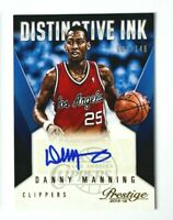 2015-16 Prestige Danny Manning AUTO Card, Distinctive INK SP #/149, Clippers!