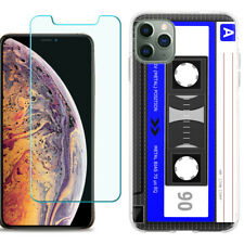 TPU Case For Apple iPhone 11 Pro Max + Tempered Glass - Cassette Blue