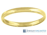 Solid 10K Yellow Gold Mens Ladies Wedding Engagement Ring Band 2mm Size 5-13