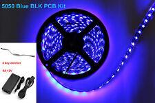 Black PCB 12V 5M SMD Blue 5050 Waterproof 300 LED Strip Light  Power Supply kit