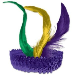 Mardi Gras Sequined Flapper Headband Mardi Gras Party Adult Fits Most Costume