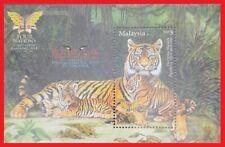"156. MALAYSIA 2014 STAMP M/S WILD ANIMALS, ENDANGERED TIGER, "" OVERPRINT"" . MNH"