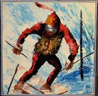 Vintage Mid Century Modern Bauhaus Abstract Skiing Signed Painting Art 1930s Era