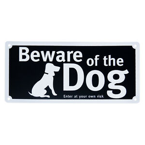 Beware Of The Dog Sign Self Adhesive Pre Drilled With Screws - 20cm X 9.5cm