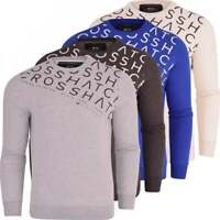 Crosshatch Mens Designer Crew Neck Fleece Sweatshirt Jumper Smart Casual Top