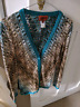 MISSONI Metallic Gold, Teal and Cream Gorgeous Knit Cardigan Size 40IT