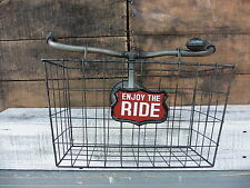 BICYCLE Handle Bars With BASKET Enjoy The Ride- Art Bike Hook Storage WALL DECOR