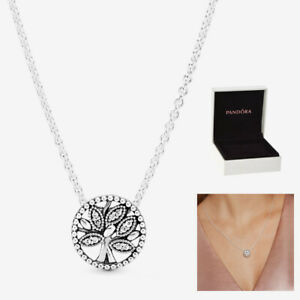 Genuine Pandora Family Pendant Tree Necklace Sterling Silver 925 With Gift Box