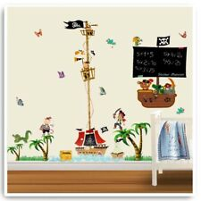 Pirate Ship Wall Stickers Jungle Animal Nursery Baby Kids Room Home Decal Art