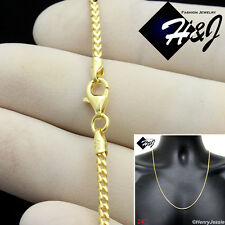 "24""MEN 925 STERLING SILVER 1.5MM GOLD FRANCO BOX CURB LINK CHAIN NECKLACE*SN6"