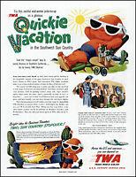 1950 TWA Airlines skyliner southwest sun country vaca vintage art print ad adL49