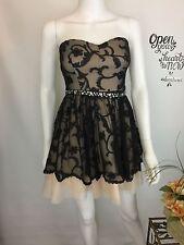 B Darlin Sz 3/4 Dress Black/Cream Rhinestone Homecoming Dance Prom Short #I08