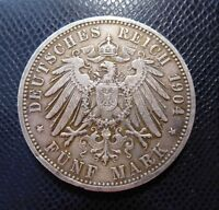GERMANY - BADEN / SILVER 5 MARK / 1904 G