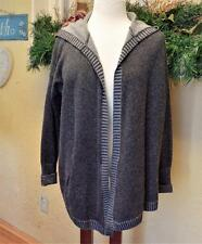 Club Monaco XS Open Hoodie Cardigan Sweater Gray Cashmere L/S Pockets Over Sized