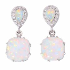 New Silver Plated White Cubic Zircon Simulated Opal Drop Dangle Earrings Jewelry