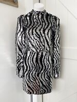 Ted Baker London LOUU Black Silver Long Sleeve Sequin Mini Dress Women's Size 0