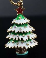 Betsey Johnson Necklace Christmas Tree White Snow Gold Crystals Holidays