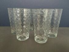 VINTAGE LIBBY CLEAR BUBBLE GLASSES TUMBLERS 16 OZ SET OF 6