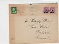 Norway 1924 Kristian Ott Norsk Arbeid cancel to Denmark stamps cover ref 21834