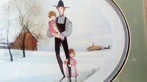 """P Buckley Moss """"My Girls"""" 1983 Framed Signed mat Print Rare Find father daughter"""