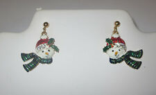 Snowman Earrings Pierced Gold Tone Holly Leaves Berry Scarf Hat Crystals New