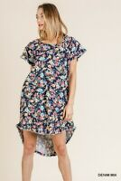 Umgee Blue Floral Print Ruffle Sleeve Round Neck High Low Fishtail Scoop Dress