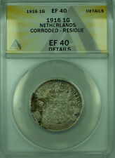 1916 1G Netherlands ANACS EF 40 Details Corroded Residue 1 Gulden Silver KM#148