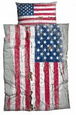 CASATEX Bettwäsche Stars and Stripes Used Look Graffiti USA Flagge Holz Renforcè