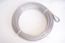 "1/4"" x 100 ft Galvanized Wire Rope Winch Cable with Thimble Eye"