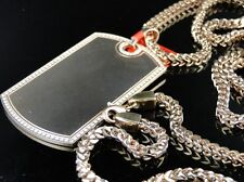 Mens Stainless Steel Rose Gold Finish Diamond Dog Tag Pendant Charm + Chain
