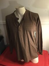 VTG 90s ~ M.E. SPORT L/S STRIPED Shirt KNIT Brown Cream Geometrical 3 button