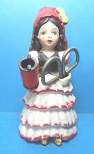 Vintage Spainish Girl Porcelain Sewing Pin Cushion Doll Figurine