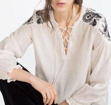 Zara ECRU Ethnic Embroidered Blouse Tunic Chemisier Tunique broderie Oliv Size XL
