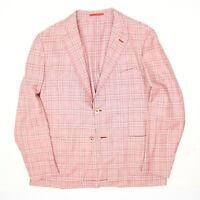 Isaia Napoli Mens Sport Coat 52 41R Red White Wool Linen Plaid Dandy Attitude 42