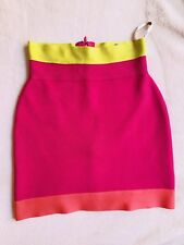 Herve Leger Bandage Mini Colorblock Charlotte skirt Hot Pink, Yellow, Red Small
