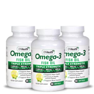 EffiHealth Omega-3 Fish Oil 3 Pack - Triple Strength 2500mg Fish Oil 800 EPA 600