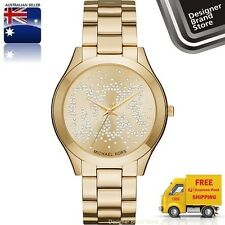 New Michael Kors Ladies Watch Slim Runway Gold SS Crystal Glitz Logo Dial MK3590