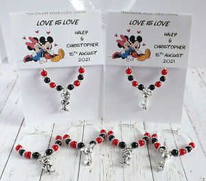 Mickey Mouse Theme Wine Glass Charms - Personalised Wedding Favours