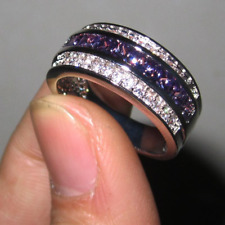 2Ct Princess Cut Purple Amethyst Half Eternity Wedding Band 18K White Gold Over