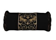 black gold unicorn horse decorative throw pillow with bullion fringe handmade