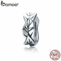 Bamoer 925 Sterling Silver European Charm leaves Spacer Fitting Chain Jewelry