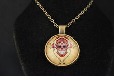 Cool Sugar Flower DEATH HEAD SKULL Cabochon  PENDANT -  NECKLACE   New!  Jewelry