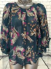NEW LOOK 8 Vgc Teal Green Pink Floral Butterfly Sleeve Kaftan Blouse Tunic Top
