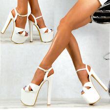 Damen High Heels Plateau Hot Weiß Schuhe Club-Party GOGO Nachtclub SeXy M73