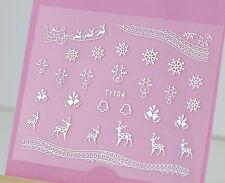Christmas SILVER Snowflakes Santa Tree Hanging 3D Nail Art Sticker Decals UV