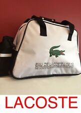 LACOSTE WHITE WITH GREEN CROCODILE MENS GYM TRAVEL OVERNIGHT BAG HOLDALL New!!!!
