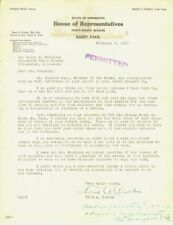 1933 Minnesota House Saint Paul Fred A. Curtis typed letter signed