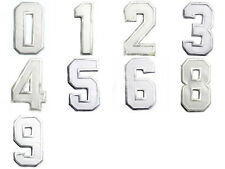 White Numbers 0-9 Motif Sport Sew Iron on Patch Embroidered Appliques Shirt Hat